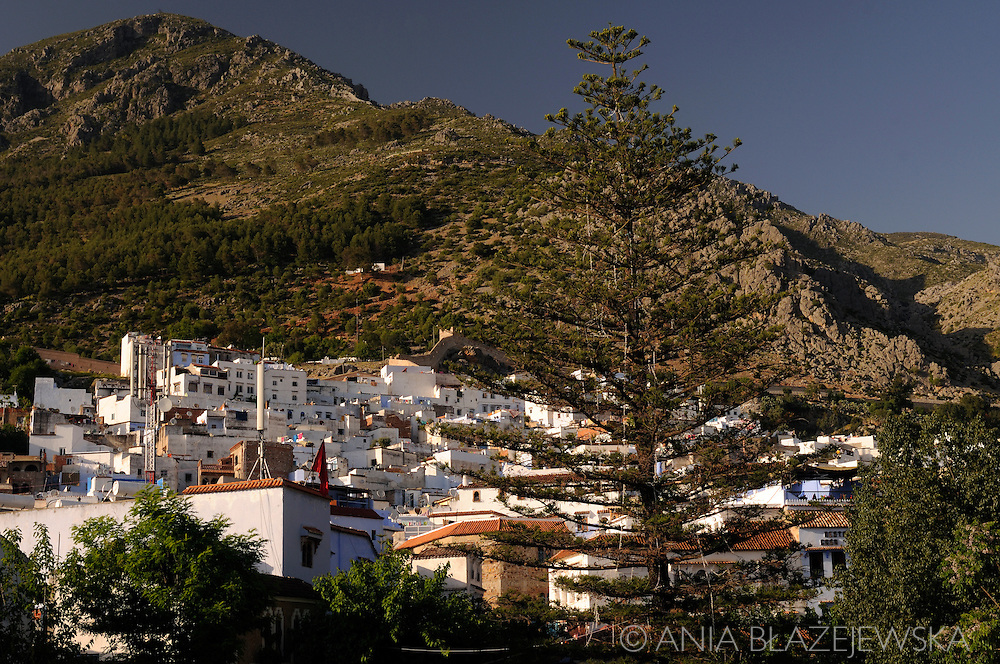 Morocco, Chefchaouen. View for the old medina and Rif Mountais.