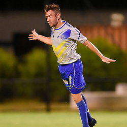 BRISBANE, AUSTRALIA - JANUARY 27: Michael Angus of the Strikers heads the ball during the Kappa Silver Boot Grand Final match between Lions FC and Brisbane Strikers on January 27, 2018 in Brisbane, Australia. (Photo by Patrick Kearney)