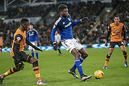 Sammy Ameobi (on loan from Newcastle United) (Cardiff City) during the Sky Bet Championship match between Hull City and Cardiff City at the KC Stadium, Kingston upon Hull, England on 13 January 2016. Photo by Mark P Doherty.