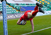 Sale Sharks wing Simon Hammersley dives over to score in the corner during the Gallagher Premiership Rugby match Northampton Saints -V- Sale Sharks at Franklin's Gardens, Northamptonshire ,England United Kingdom, Tuesday, September 29, 2020. (Steve Flynn/Image of Sport)