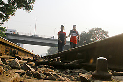 November 20, 2018 - Dhaka, Bangladesh - Tejgaon rail line is one of the busiest rail line in Dhaka, Bangladesh on 20 November 2018. But this line is getting risky day by day as the sleeper locks of the lines are broken and missing due to mismanagement, lack of servicing and corruptions. (Credit Image: © Khandaker Azizur Rahman Sumon/NurPhoto via ZUMA Press)