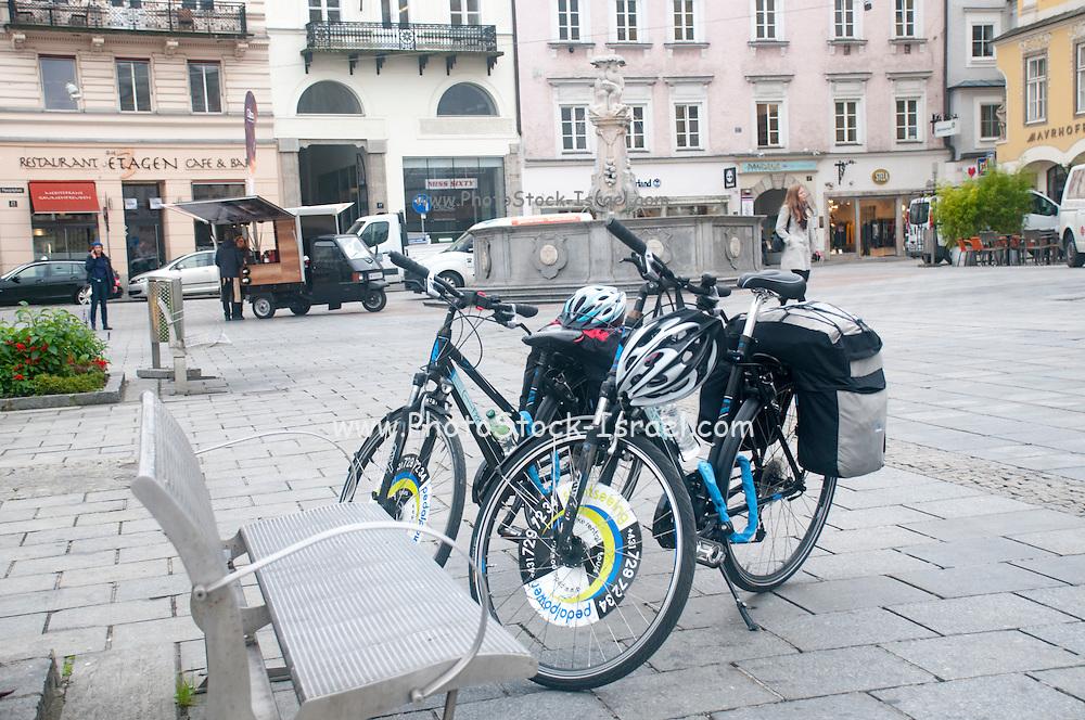 Touring bicycles at Hauptplatz, Linz, Austria