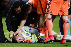 March 13, 2019 - Barcelona, Catalonia, Spain - March 13, 2019 - Barcelona, Spain - Uefa Champions League 1/8 of final second leg, FC Barcelona v Olympique de Lyon: Anthony Lopez on the floor after a injury. (Credit Image: © Marc Dominguez/ZUMA Wire)