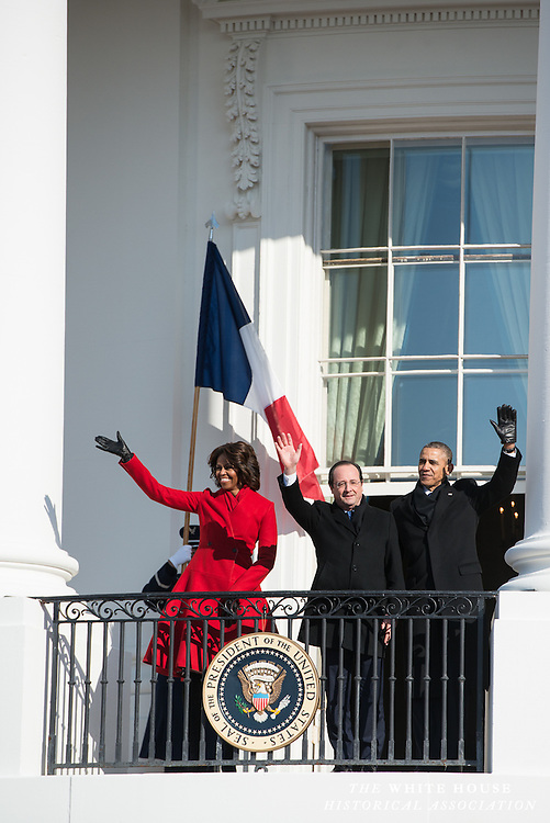 2/11/2014 White House South Portico -- President Barack Obama greets French President Françoise Hollande on the South Lawn of the White House. They reviewed the troops present for the ceremony, and each spoke about the long-lasting relationship between the United States and France. (Photo by Matthew Paul D'Agostino / WHHA)