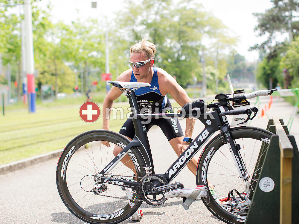 SV Basel's triathlete Lorenz Ineichen of Switzerland is pictured during a photo session at the Sportbad St. Jakob in Basel, Switzerland, Saturday, May 23, 2015. (Photo by Patrick B. Kraemer / MAGICPBK)
