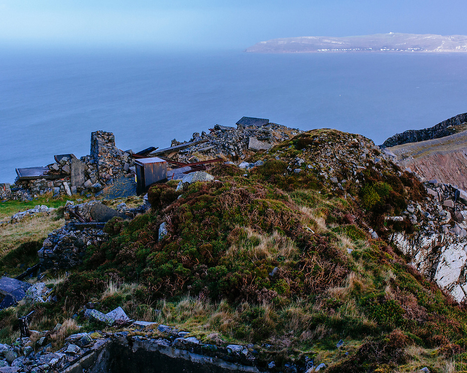 Ruins on top of Panmaenmawr Quarry looking out to sea