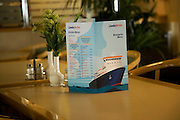 Menu on table of Condor Ferries ferry between Portsmouth and Channel islands
