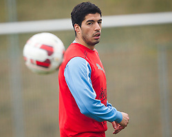 KLAGENFURT, AUSTRIA - Tuesday, March 4, 2014:<br /> Liverpool's Luis Suarez training with his national side Uruguay at the Woerthersee Arena ahead of the international friendly against Austria. (Pic by JFK/EXPA/Propaganda)