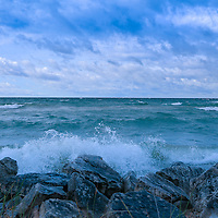 """""""Morning Waves a Crashing 2""""<br /> <br /> Waves crash against the rocky shores of Lake Michigan near St. Ignace Michigan in the Upper Peninsula!"""