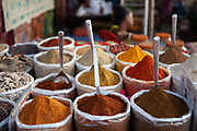 Rows of colourful spices in a market on 30th December 2009 in Anjuna, Goa, India. .