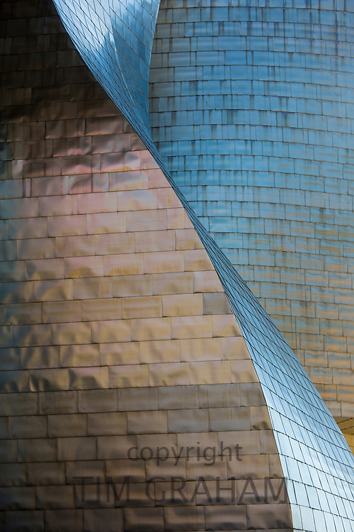 Architect Frank Gehry's Guggenheim Museum futuristic architectural design in titanium at Bilbao, Basque country, Spain<br /> FINE ART PHOTOGRAPHY by Tim Graham