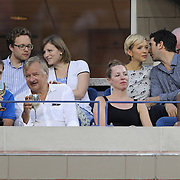 Actor David Schwimmer, (right), and wife Zoe Buckman, at the Serena Williams, USA, against Carla Suarez Navarro, Spain, match during the Women's Singles competition at the US Open. Flushing. New York, USA. 2nd September 2013. Photo Tim Clayton