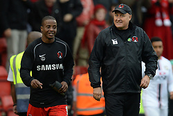 Leyton Orient's Kevin Lisbie and Leyton Orient Manager, Russell Slade  celebrate Orient's victory - Photo mandatory by-line: Mitchell Gunn/JMP - Tel: Mobile: 07966 386802 12/10/2013 - SPORT - FOOTBALL - Brisbane Road - Leyton - Leyton Orient V MK Dons - League One