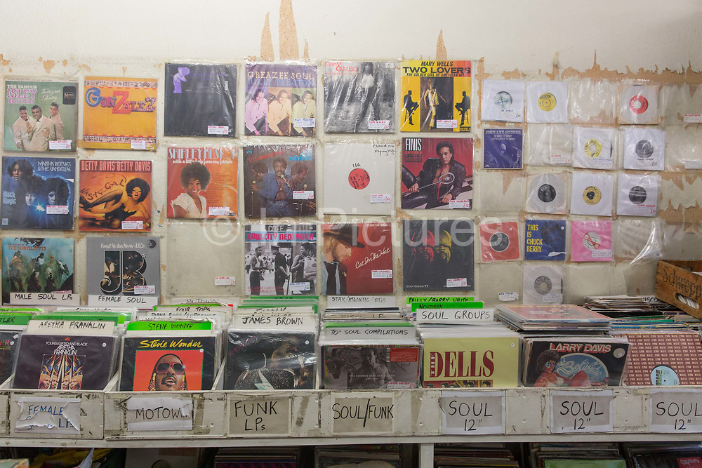 A large selection of soul music at Alan's Records, a long standing and collectors favourite, in East Finchley on the 27th March 2018 in North London, United Kingdom