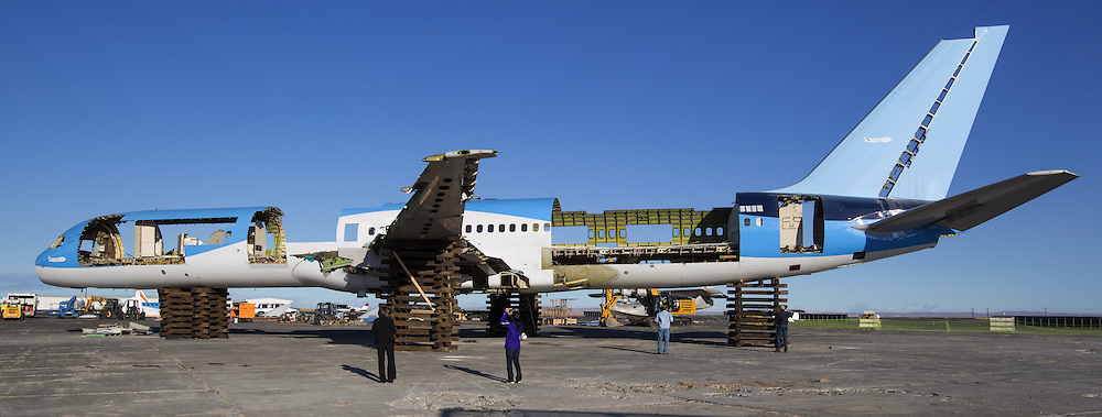 The ecoDemonstrator 757 airplane, originally built for United The 25-year-old 757 is being torn apart for recycling after it moved from its airline life into a vehicle for tests to improve the environmental performance. <br /> <br /> Mike Siegel/The Seattle Times