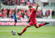 Scarlets' Leigh Halfpenny kicks a conversion.<br /> Guinness Pro14 rugby match, Scarlets v Southern Kings at the Parc y Scarlets in Llanelli, Carms, Wales on Saturday 2nd September 2017.<br /> pic by Craig Thomas, Andrew Orchard sports photography.