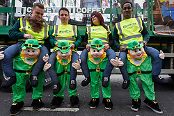 © Licensed to London News Pictures. 17/03/2019. LONDON, UK. Performers prepare to take part in the annual St. Patrick's Day parade and festival in the capital.  Photo credit: Stephen Chung/LNP