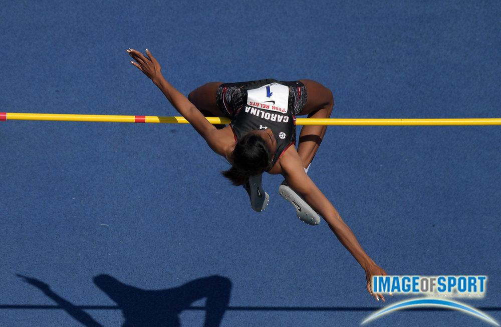 Apr 28, 2018; Philadelphia, PA, USA; Lissa Labiche of South Carolina wins the women's high jump at 5-11 1/2 (1.82M) during the 124th Penn Relays at Franklin Field.