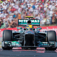 Petronas Mercedes F1 Formula One driver Lewis Hamilton of Great Britain competes during the Hungarian F1 Grand Prix in Mogyorod (about 20km north-east from capital city Budapest), Hungary on July 28, 2013. ATTILA VOLGYI