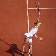 PARIS, FRANCE June 12.  Anastasia Pavlyuchenkova of Russia in action against Barbora Krejcikova of the Czech Republic on Court Philippe-Chatrier during the final of the singles competition at the 2021 French Open Tennis Tournament at Roland Garros on June 12th 2021 in Paris, France. (Photo by Tim Clayton/Corbis via Getty Images)