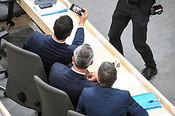 """27.05.2019, Hofburg, Wien, AUT, Sondersitzung des Nationalrates, Sitzung des Nationalrates aufgrund des Misstrauensantrags der Liste JETZT, FPOE und SPOE gegen Bundeskanzler Sebastian Kurz (OeVP) und die Bundesregierung, im Bild v.l. Norbert Hofer (FPÖ), Herbert Kickl (FPÖ) machen vor der Sitzung ein Selfi // during special meeting of the National Council of austria due to the topic """"motion of censure against the federal chancellor Sebastian Kurz (OeVP) and the federal government"""" at the Hofburg in Wien, Australia on 2019/05/27. EXPA Pictures © 2019, PhotoCredit: EXPA/ Lukas Huter"""