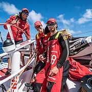 Leg 6 to Auckland, day 07 on board MAPFRE, Happy singles day, Blair Tuke, Tamara Echegoyen and Louis Sinclair. 13 February, 2018.