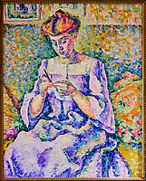 France, Paris (75), zone classée Patrimoine Mondial de l'UNESCO, Musée d'Orsay, Femme faisant du crochet, Lucie Cousturier // France, Paris, Orsay museum, Femme faisant du crochet, Lucie Cousturier