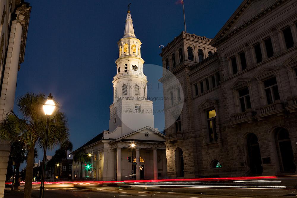 Twilight along Broad Street in historic Charleston, SC.