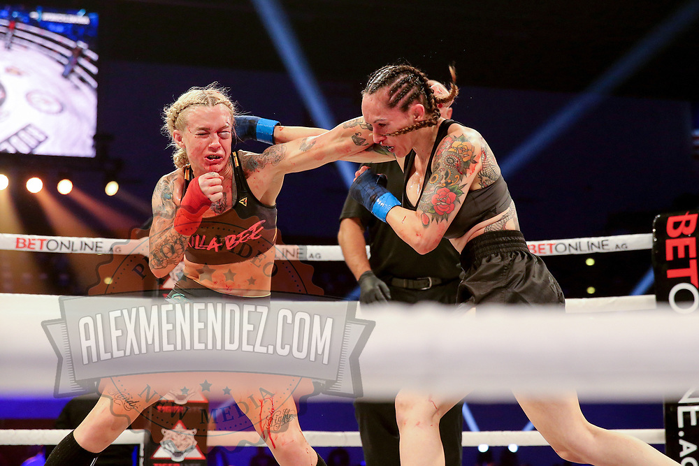 TAMPA, FL - FEBRUARY 05: Taylor Starling (L) fights Charisa Sigala during the BKFC KnuckleMania event at RP Funding Center on February 5, 2021 in Tampa, Florida. (Photo by Alex Menendez/Getty Images) *** Local Caption *** Charisa Sigala; Taylor Starling