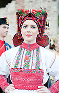 Brodsko kolo, Slavonski Brod, Croatia. Young woman from Donja Kupčina in traditional folk costume. The Brodsko kolo has been running for over 50 years, and is the oldest folk dancing festival in Croatia. © Rudolf Abraham