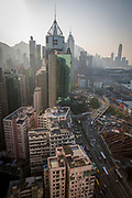 A daytime view of the Hong Kong skyline overlooking Causeway Bay, Hong Kong. The tall building with the spike on top is the Central Plaza building. (photo by Andrew Aitchison / In pictures via Getty Images)