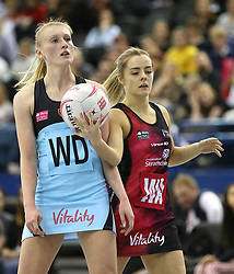 Surrey Storm's Nicole Humphrys (left) and Strathclyde Sirens' Nicola McCleary in action during the Vitality Netball Superleague Super Ten match held at Arena Birmingham.