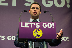 © Licensed to London News Pictures . FILE PICTURE DATED 27/02/2016 of STEVEN WOOLFE addressing the UKIP Spring Conference , at Venue Cymru in Conwy , Wales as today , 14th July 2016 , Woolfe has declared his intention to stand as the next leader of UKIP , following the resignation of Nigel Farage . Photo credit : Joel Goodman/LNP