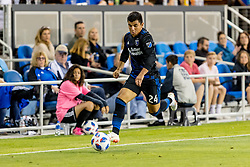 June 13, 2018 - San Jose, CA, U.S. - SAN JOSE, CA - JUNE 13: San Jose Earthquakes Defender Nick Lima (24) brings the ball down the field during the MLS game between the New England Revolution and the San Jose Earthquakes on June 13, 2018, at Avaya Stadium in San Jose, CA. The game ended in a 2-2 tie. (Photo by Bob Kupbens/Icon Sportswire) (Credit Image: © Bob Kupbens/Icon SMI via ZUMA Press)