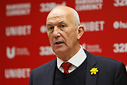 Middlesbrough Manager Tony Pulis in his post match press conference during the EFL Sky Bet Championship match between Middlesbrough and Stoke City at the Riverside Stadium, Middlesbrough, England on 19 April 2019.
