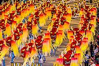 Carnaval parade of GRES Sao Clemente samba school in the Sambadrome, Rio de Janeiro, Brazil.