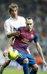 10.12.2011, Santiago Bernabeu Stadion, Madrid, ESP, Primera Division, Real Madrid vs FC Barcelona, 15. Spieltag, im Bild Barcelona's Andres Iniesta against Real Madrid's Fabio Coentrao // during the football match of spanish 'primera divison' league, 15th round, between Real Madrid and FC Barcelona at Santiago Bernabeu stadium, Madrid, Spain on 2011/12/10. EXPA Pictures © 2011, PhotoCredit: EXPA/ Alterphotos/ Alvaro Hernandez..***** ATTENTION - OUT OF ESP and SUI *****