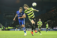 Huddersfield Town defender Michael Hefele (44) and Sheffield Wednesday forward Jordan Rhodes (17)  during the EFL Sky Bet Championship play off second leg match between Sheffield Wednesday and Huddersfield Town at Hillsborough, Sheffield, England on 17 May 2017. Photo by John Potts.
