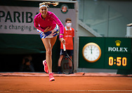 Petra Kvitova of the Czech Republic in action against Shuai Zhang of China during the fourth round at the Roland Garros 2020, Grand Slam tennis tournament, on October 5, 2020 at Roland Garros stadium in Paris, France - Photo Rob Prange / Spain ProSportsImages / DPPI / ProSportsImages / DPPI