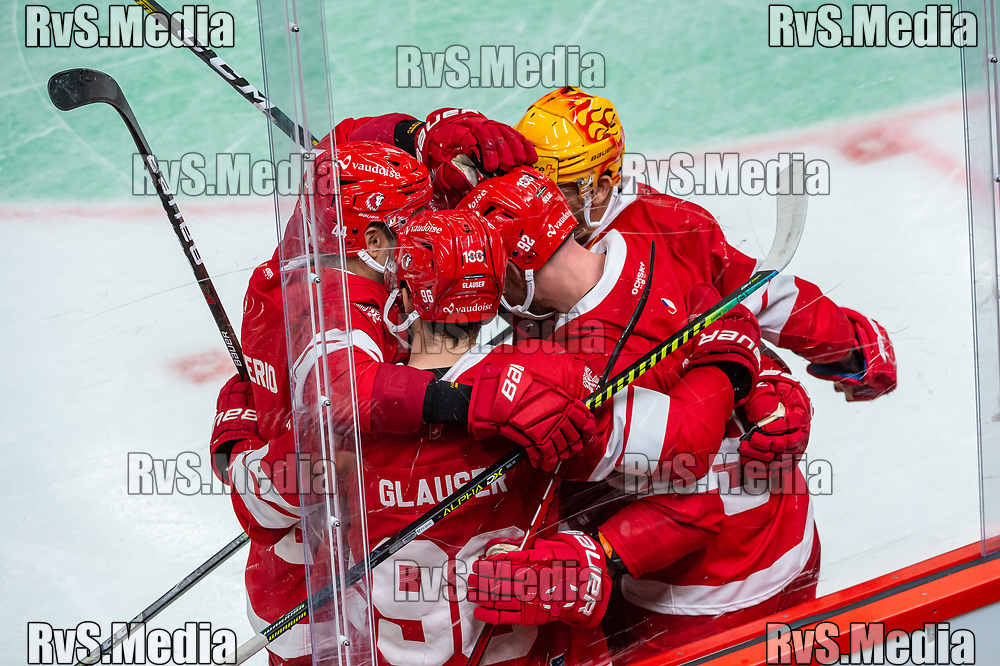 LAUSANNE, SWITZERLAND - SEPTEMBER 24: Jiri Sekac #92 of Lausanne HC celebrates his goal with teammates during the Swiss National League game between Lausanne HC and HC Davos at Vaudoise Arena on September 24, 2021 in Lausanne, Switzerland. (Photo by Robert Hradil/RvS.Media)