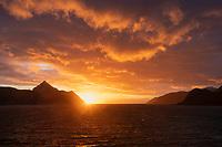 Sun low on southern horizon in last days before the Arctic Polar Night begins, Lofoten Islands, Norway