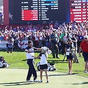 Ryder Cup 2016. Day Three. Patrick Reed of the United States celebrates on the eighteenth with his wife Justine Reed after defeating Rory McIlroy of Europe during the Sunday singles competition at  the Ryder Cup tournament at Hazeltine National Golf Club on October 02, 2016 in Chaska, Minnesota.  (Photo by Tim Clayton/Corbis via Getty Images)