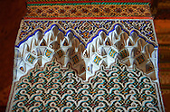 Berber Arabesque decorative honeycomb Muqarnas plaster capitals of Bou Ahmed's Harem. Bahia Palace, Marrakesh, Morroco .<br /> <br /> Visit our MOROCCO HISTORIC PLAXES PHOTO COLLECTIONS for more   photos  to download or buy as prints https://funkystock.photoshelter.com/gallery-collection/Morocco-Pictures-Photos-and-Images/C0000ds6t1_cvhPo<br /> .<br /> <br /> Visit our ISLAMIC HISTORICAL PLACES PHOTO COLLECTIONS for more photos to download or buy as wall art prints https://funkystock.photoshelter.com/gallery-collection/Islam-Islamic-Historic-Places-Architecture-Pictures-Images-of/C0000n7SGOHt9XWI