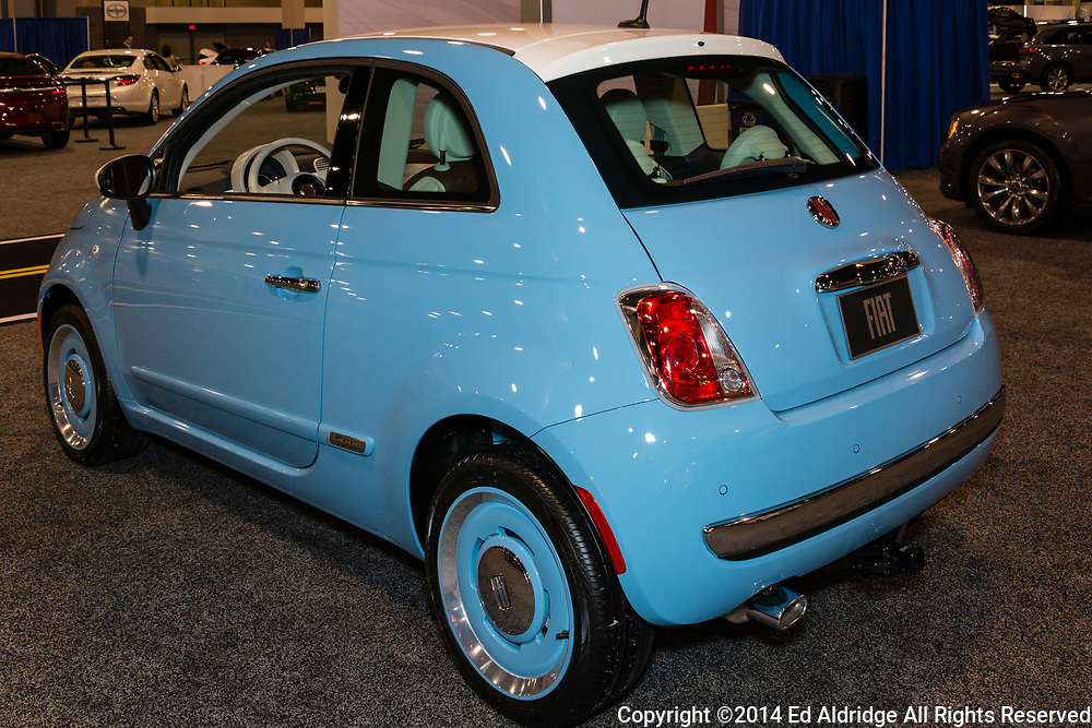 CHARLOTTE, NORTH CAROLINA - NOVEMBER 20, 2014: Fiat 500 on display during the 2014 Charlotte International Auto Show at the Charlotte Convention Center.
