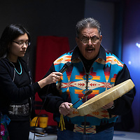 Raymond Yazzie Sr. performs drum honor songs to commemorate the launch of the New Mexico Indigenous Women's Resource Council at Rio West Mall in Gallup Saturday.