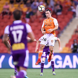BRISBANE, AUSTRALIA - DECEMBER 21: Nick D'Agostino of the Roar heads the ball during the Round 12 Hyundai A-League match between Brisbane Roar and Perth Glory on December 21, 2017 in Brisbane, Australia. (Photo by Patrick Kearney / Brisbane Roar FC)