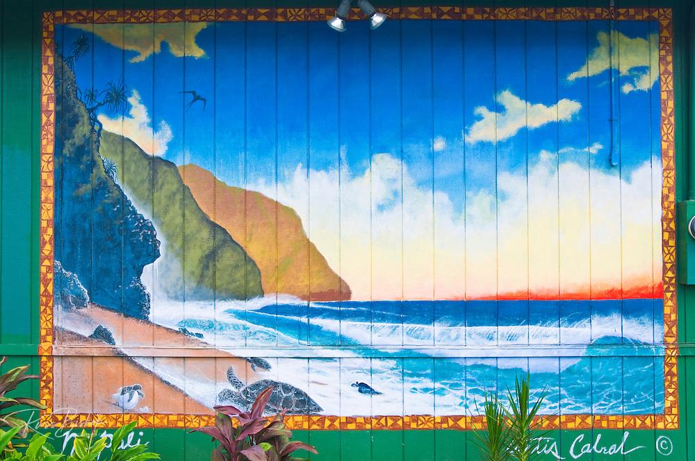 Mural of the Na Pali Coast, Hanalei, Island of Kauai, Hawaii