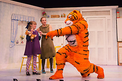 "© Licensed to London News Pictures. 03/07/2014. London, England. L-R: Abbey Norman as Sophie, Jenanne Redman as Mummy and Matthew Dudley as The Tiger. The musical play ""The Tiger Who Came to Tea"" returns to London's West End. With Abbey Norman as Sophie, Jenanne Redman as Mummy and Matthew Dudley as the Tiger. The stage adaptation of Judith Kerr's tale is directed by David Wood. The show opens on 2 July and runs until 7 September 2014 at the Lyric Theatre in London. Photo credit: Bettina Strenske/LNP"
