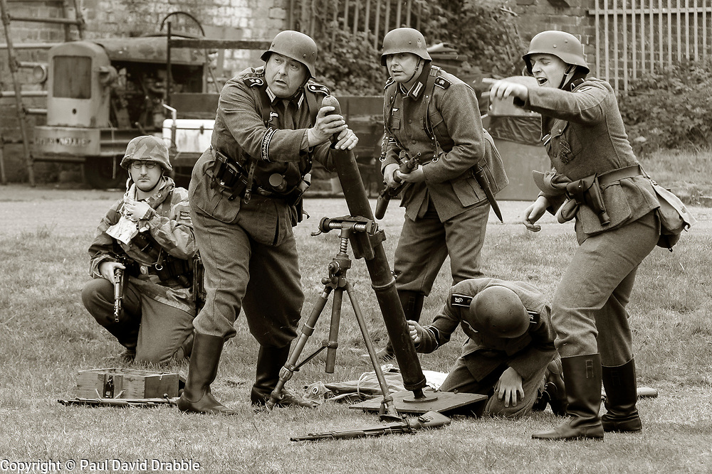 Panzer-Grenadier-Division Großdeutschland Mortor team fire during battle reenactment - Nww2A Fort Paull<br /> <br />  Copyright Paul David Drabble<br /> 5th & 6th May 2019<br />  www.pauldaviddrabble.co.uk