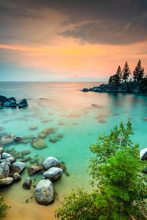 """""""Secret Cove Sunset 7"""" - Sunset photograph taken at Secret Cove, Lake Tahoe."""